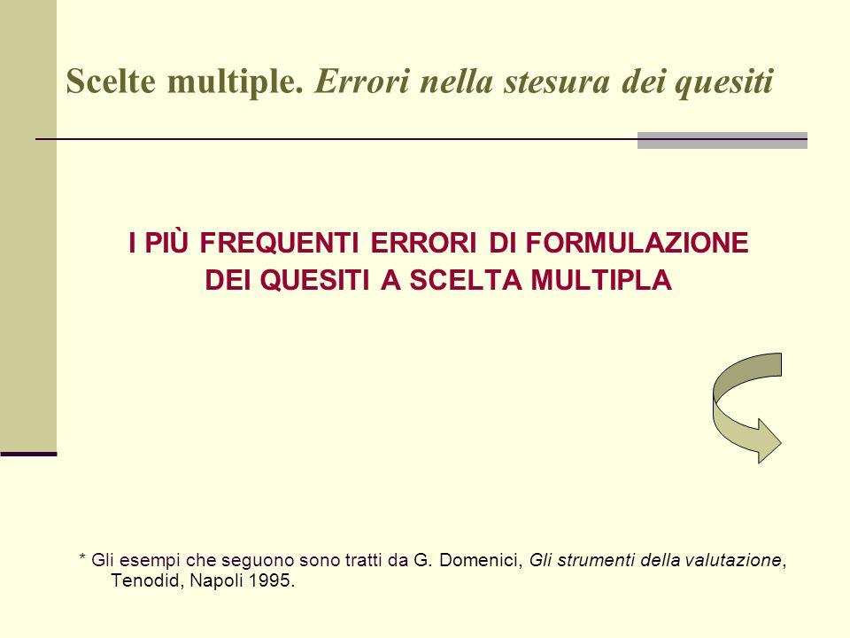 Scelte multiple. Errori nella stesura dei quesiti I PIÙ FREQUENTI ERRORI DI FORMULAZIONE DEI QUESITI A SCELTA MULTIPLA * Gli esempi che seguono sono t