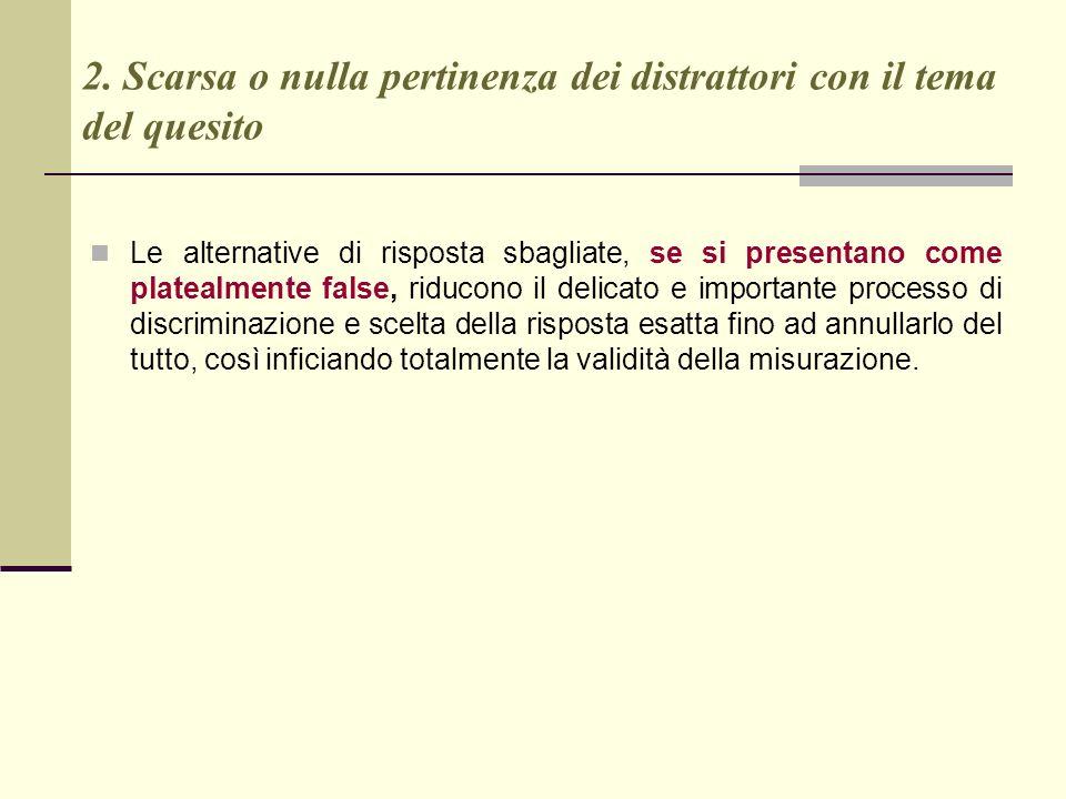 2. Scarsa o nulla pertinenza dei distrattori con il tema del quesito Le alternative di risposta sbagliate, se si presentano come platealmente false, r