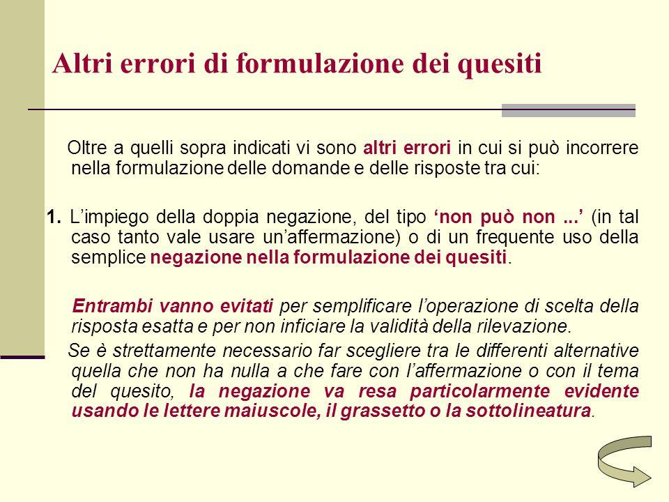 Altri errori di formulazione dei quesiti Oltre a quelli sopra indicati vi sono altri errori in cui si può incorrere nella formulazione delle domande e
