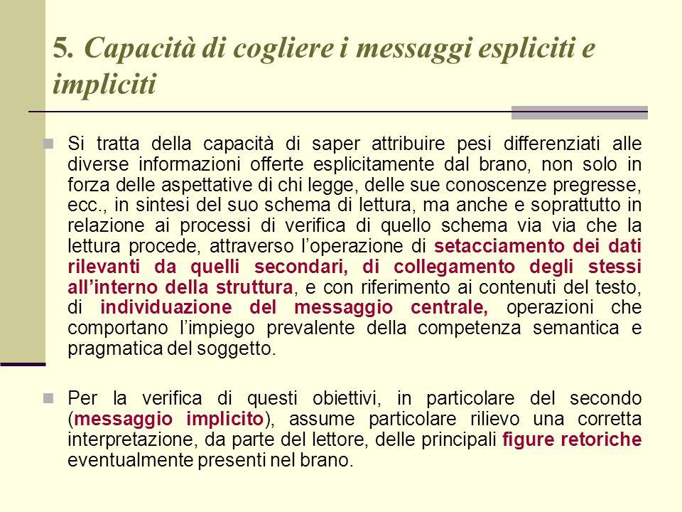 5. Capacità di cogliere i messaggi espliciti e impliciti Si tratta della capacità di saper attribuire pesi differenziati alle diverse informazioni off