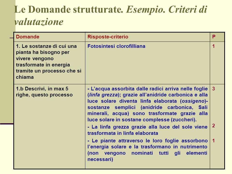 Le Domande strutturate. Esempio. Criteri di valutazione DomandeRisposte-criterioP 1. Le sostanze di cui una pianta ha bisogno per vivere vengono trasf