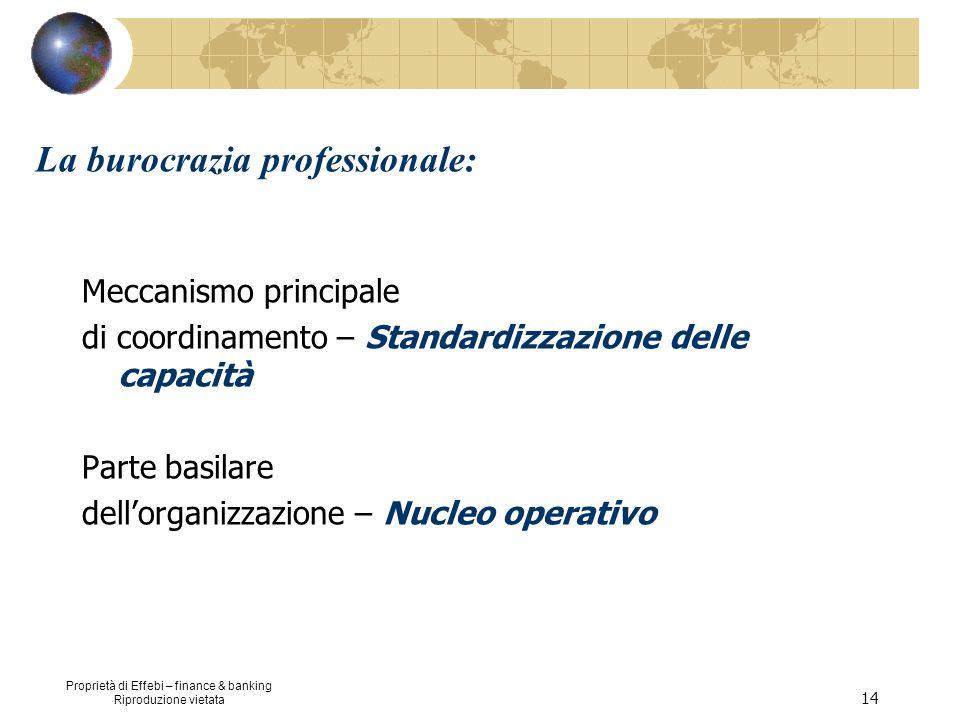 Proprietà di Effebi – finance & banking Riproduzione vietata 14 La burocrazia professionale: Meccanismo principale di coordinamento – Standardizzazion