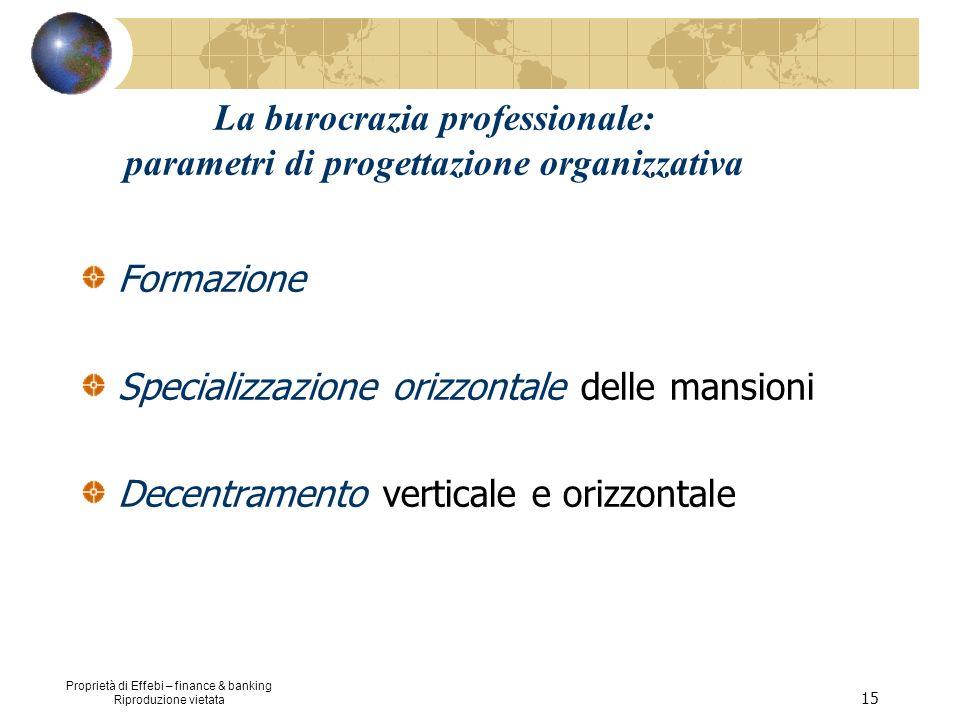 Proprietà di Effebi – finance & banking Riproduzione vietata 15 La burocrazia professionale: parametri di progettazione organizzativa Formazione Speci
