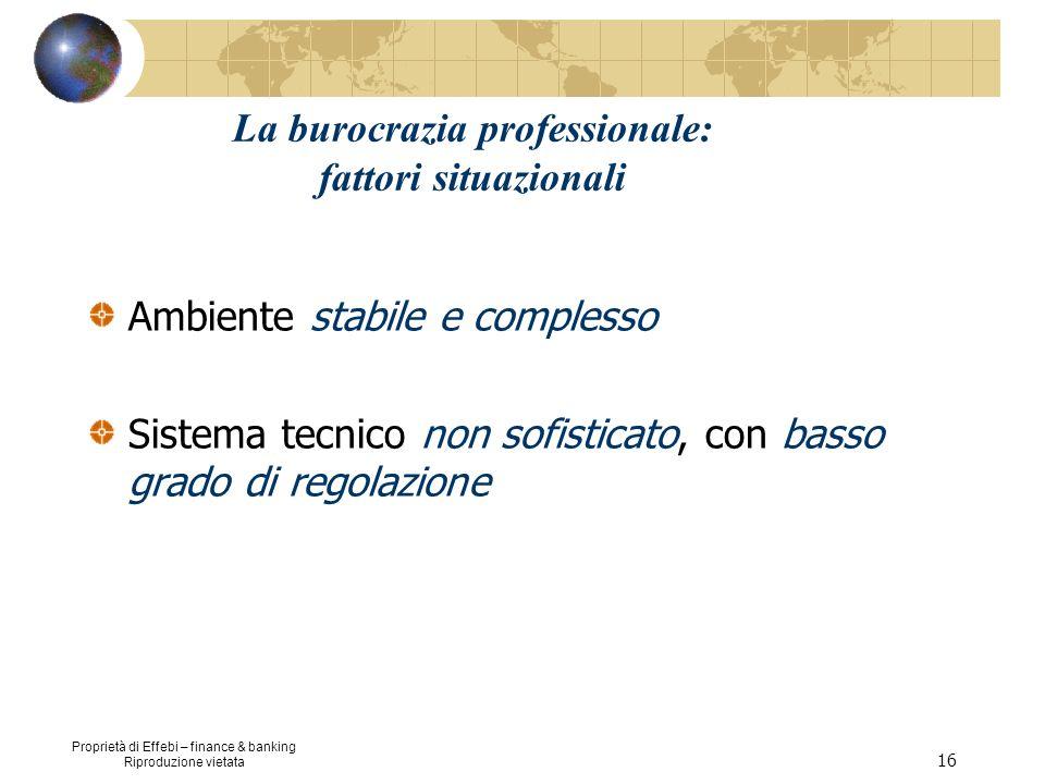 Proprietà di Effebi – finance & banking Riproduzione vietata 16 La burocrazia professionale: fattori situazionali Ambiente stabile e complesso Sistema