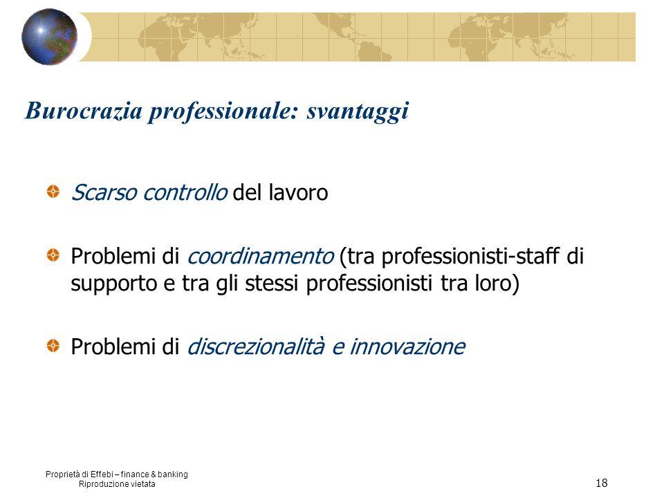 Proprietà di Effebi – finance & banking Riproduzione vietata 18 Burocrazia professionale: svantaggi Scarso controllo del lavoro Problemi di coordiname