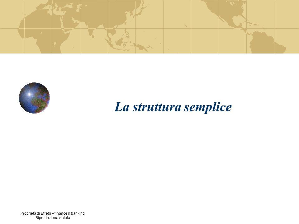 Proprietà di Effebi – finance & banking Riproduzione vietata 3 La struttura semplice: Meccanismo principale di coordinamento – Supervisione diretta Parte basilare dellorganizzazione – Vertice strategico Parametri di progettazione organizzativa – Accentramento/Struttura organica