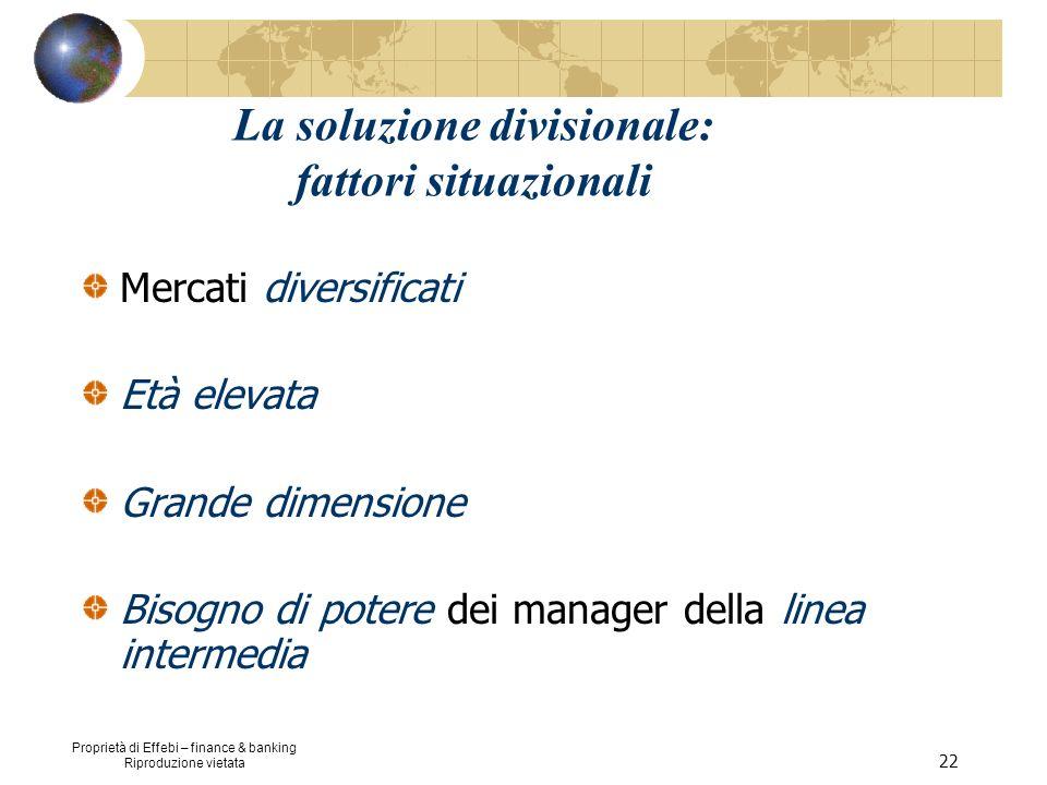 Proprietà di Effebi – finance & banking Riproduzione vietata 22 La soluzione divisionale: fattori situazionali Mercati diversificati Età elevata Grand