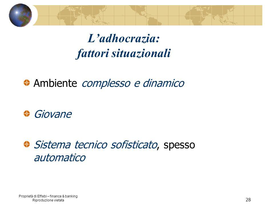 Proprietà di Effebi – finance & banking Riproduzione vietata 28 Ladhocrazia: fattori situazionali Ambiente complesso e dinamico Giovane Sistema tecnic