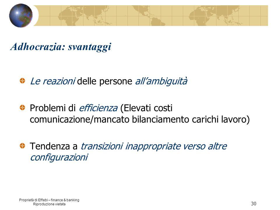 Proprietà di Effebi – finance & banking Riproduzione vietata 30 Adhocrazia: svantaggi Le reazioni delle persone allambiguità Problemi di efficienza (E