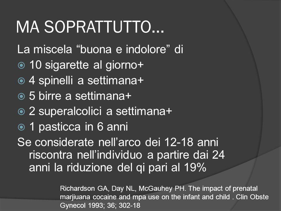 MA SOPRATTUTTO… La miscela buona e indolore di 10 sigarette al giorno+ 4 spinelli a settimana+ 5 birre a settimana+ 2 superalcolici a settimana+ 1 pasticca in 6 anni Se considerate nellarco dei 12-18 anni riscontra nellindividuo a partire dai 24 anni la riduzione del qi pari al 19% Richardson GA, Day NL, McGauhey PH.