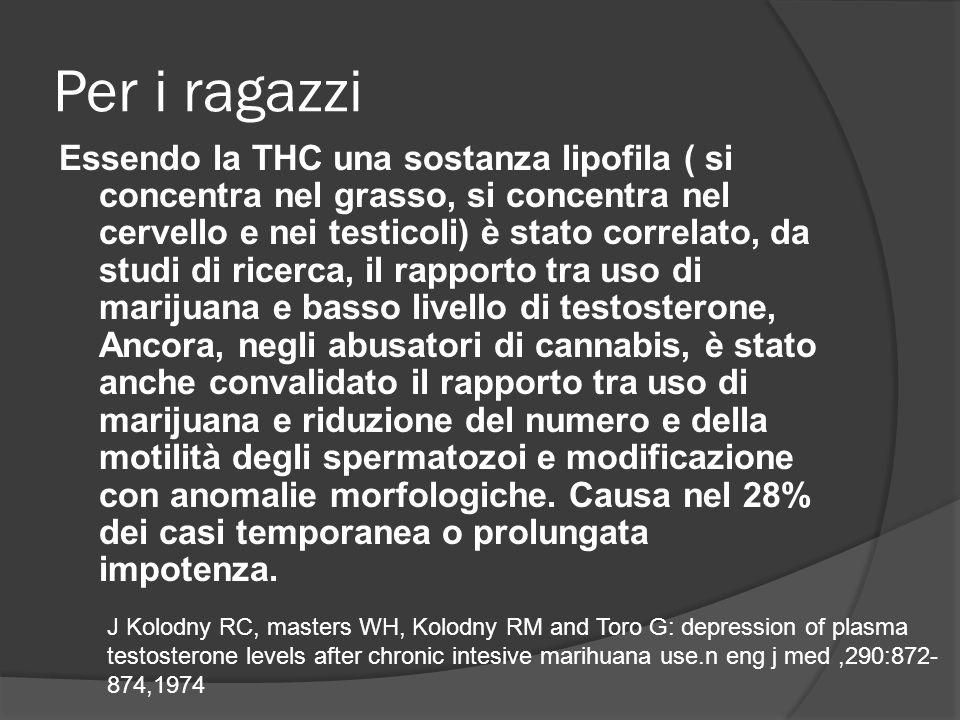 Per i ragazzi Essendo la THC una sostanza lipofila ( si concentra nel grasso, si concentra nel cervello e nei testicoli) è stato correlato, da studi di ricerca, il rapporto tra uso di marijuana e basso livello di testosterone, Ancora, negli abusatori di cannabis, è stato anche convalidato il rapporto tra uso di marijuana e riduzione del numero e della motilità degli spermatozoi e modificazione con anomalie morfologiche.