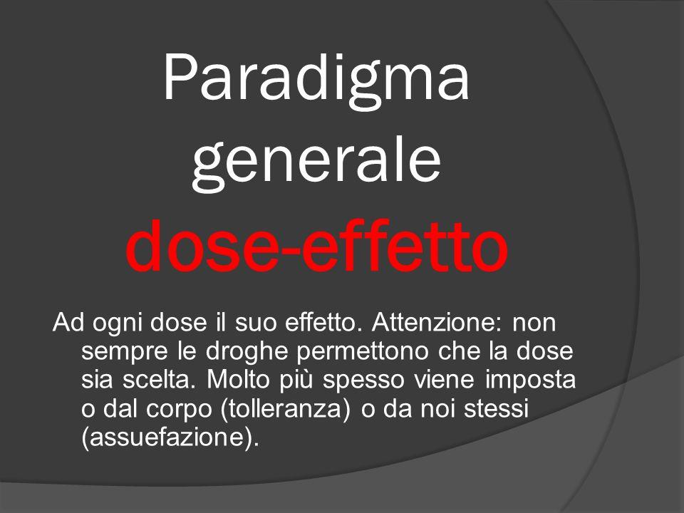 Paradigma generale dose-effetto Ad ogni dose il suo effetto. Attenzione: non sempre le droghe permettono che la dose sia scelta. Molto più spesso vien