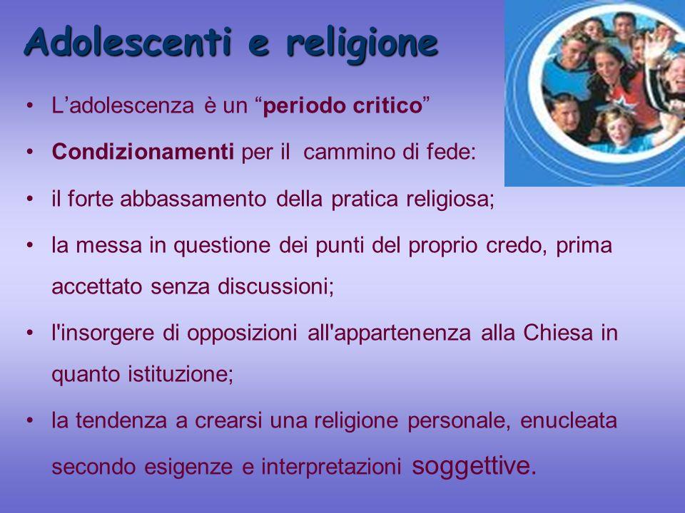 Adolescenti e religione Ladolescenza è un periodo critico Condizionamenti per il cammino di fede: il forte abbassamento della pratica religiosa; la me
