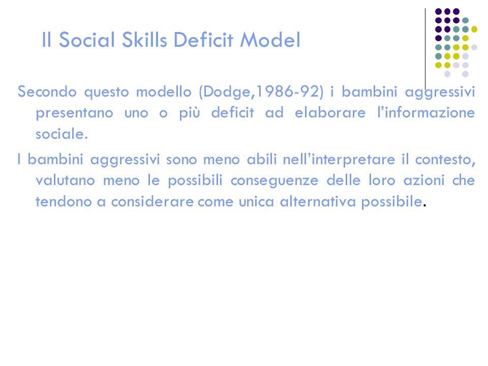 Il Social Skills Deficit Model Secondo questo modello (Dodge,1986-92) i bambini aggressivi presentano uno o più deficit ad elaborare linformazione soc