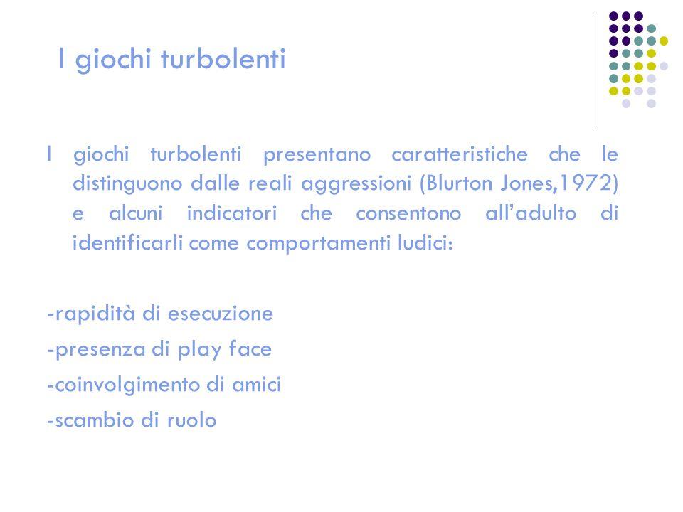 I giochi turbolenti I giochi turbolenti presentano caratteristiche che le distinguono dalle reali aggressioni (Blurton Jones,1972) e alcuni indicatori