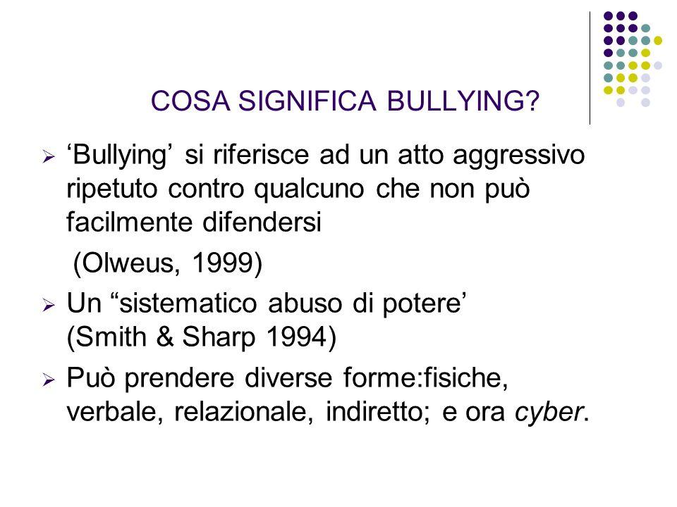 COSA SIGNIFICA BULLYING? Bullying si riferisce ad un atto aggressivo ripetuto contro qualcuno che non può facilmente difendersi (Olweus, 1999) Un sist