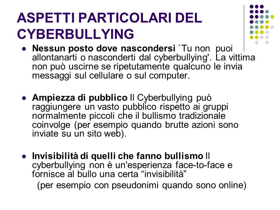 ASPETTI PARTICOLARI DEL CYBERBULLYING Nessun posto dove nascondersi `Tu non puoi allontanarti o nasconderti dal cyberbullying'. La vittima non può usc
