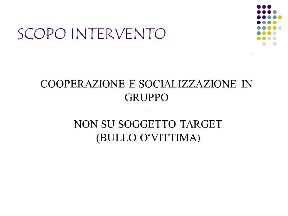 SCOPO INTERVENTO COOPERAZIONE E SOCIALIZZAZIONE IN GRUPPO NON SU SOGGETTO TARGET (BULLO O VITTIMA)