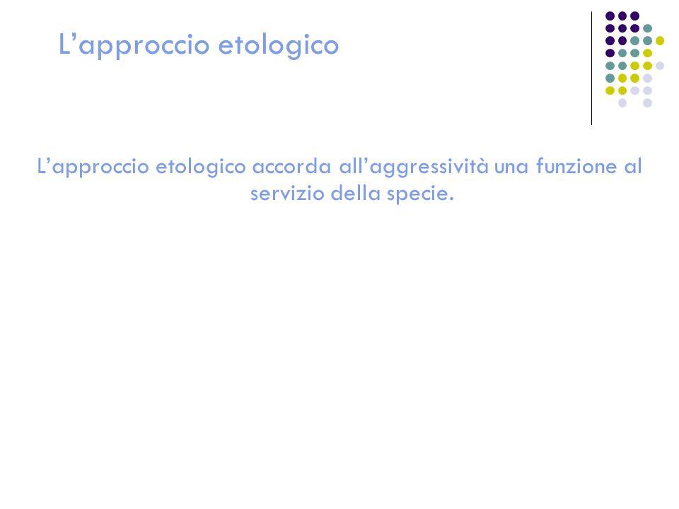 Lapproccio etologico Lapproccio etologico accorda allaggressività una funzione al servizio della specie.