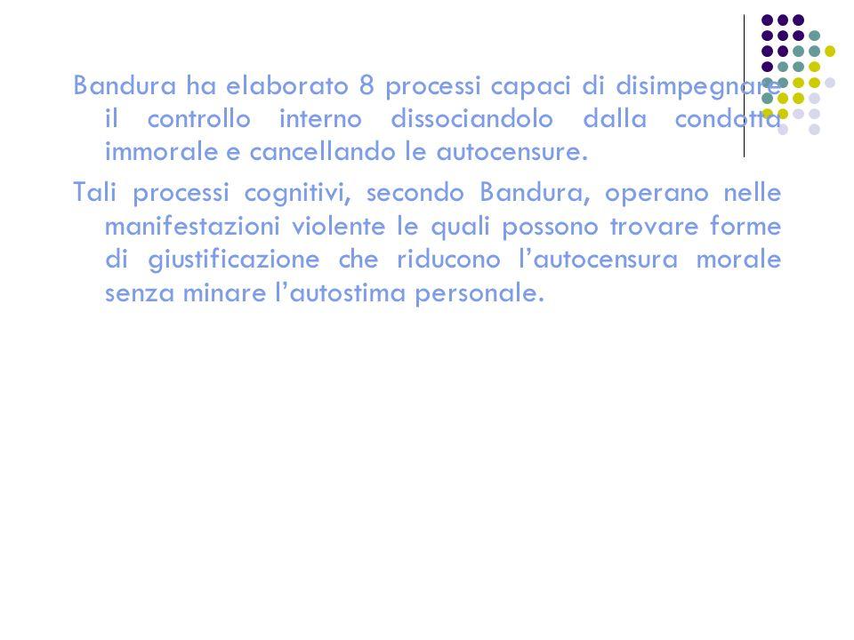 Bandura ha elaborato 8 processi capaci di disimpegnare il controllo interno dissociandolo dalla condotta immorale e cancellando le autocensure. Tali p