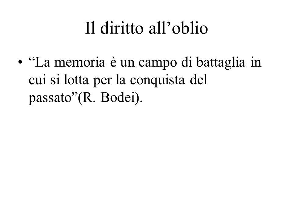Il diritto alloblio La memoria è un campo di battaglia in cui si lotta per la conquista del passato(R. Bodei).