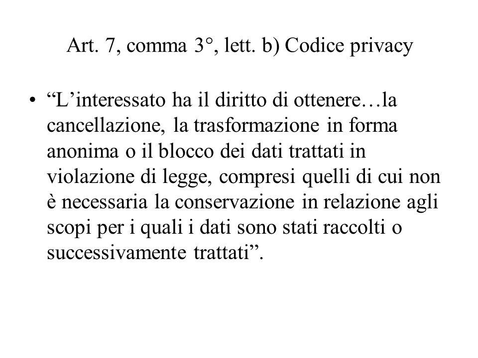 Art. 7, comma 3°, lett. b) Codice privacy Linteressato ha il diritto di ottenere…la cancellazione, la trasformazione in forma anonima o il blocco dei