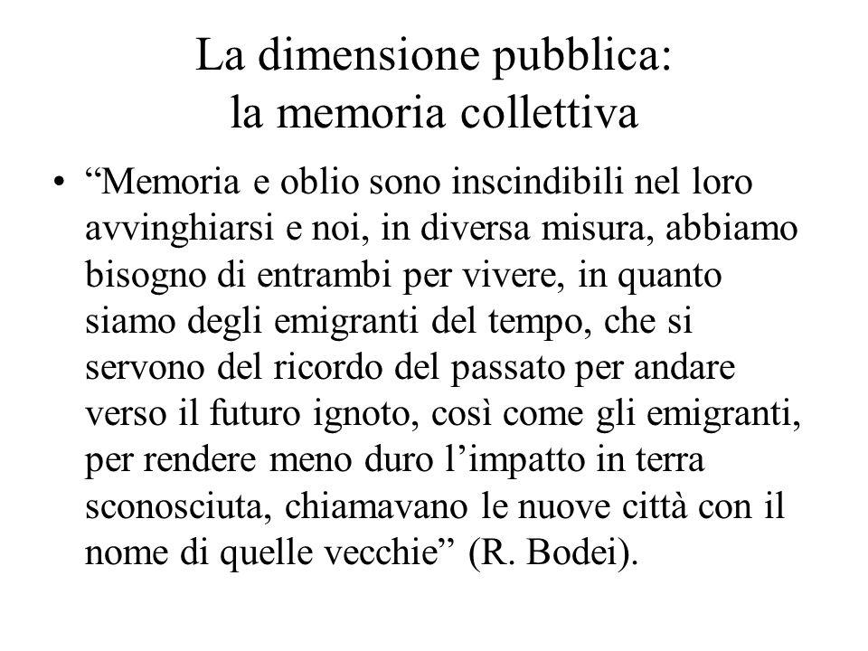 La dimensione pubblica: la memoria collettiva Memoria e oblio sono inscindibili nel loro avvinghiarsi e noi, in diversa misura, abbiamo bisogno di ent