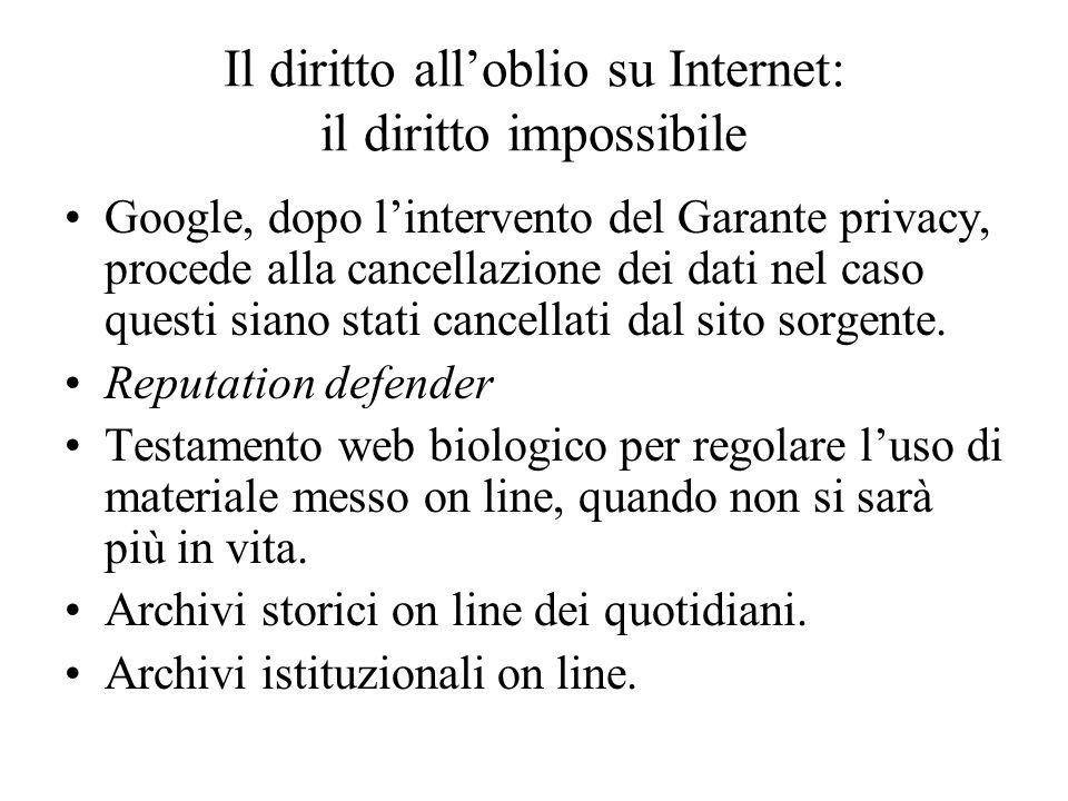 Il diritto alloblio su Internet: il diritto impossibile Google, dopo lintervento del Garante privacy, procede alla cancellazione dei dati nel caso questi siano stati cancellati dal sito sorgente.