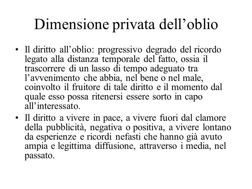 Dimensione privata delloblio Il diritto alloblio: progressivo degrado del ricordo legato alla distanza temporale del fatto, ossia il trascorrere di un