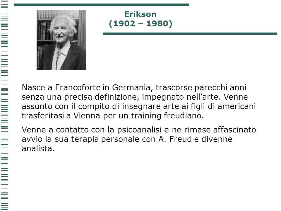 Erikson (1902 – 1980) Nasce a Francoforte in Germania, trascorse parecchi anni senza una precisa definizione, impegnato nellarte. Venne assunto con il