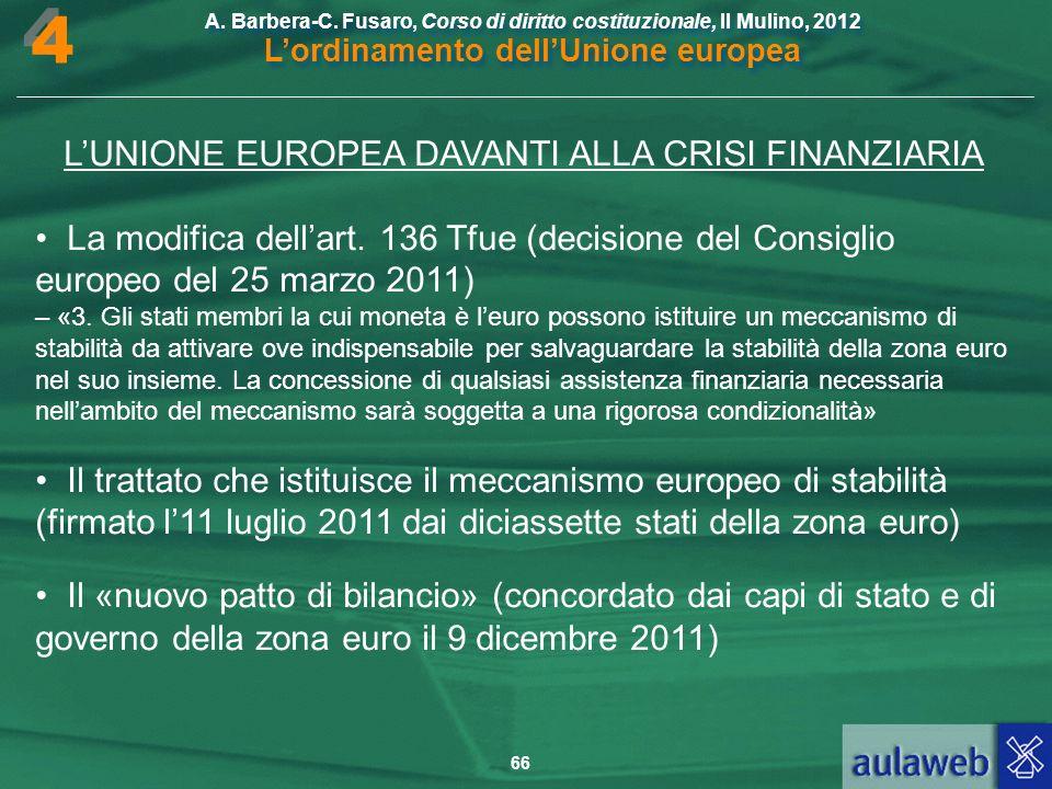 A. Barbera-C. Fusaro, Corso di diritto costituzionale, Il Mulino, 2012 Lordinamento dellUnione europea 66 4 4 LUNIONE EUROPEA DAVANTI ALLA CRISI FINAN
