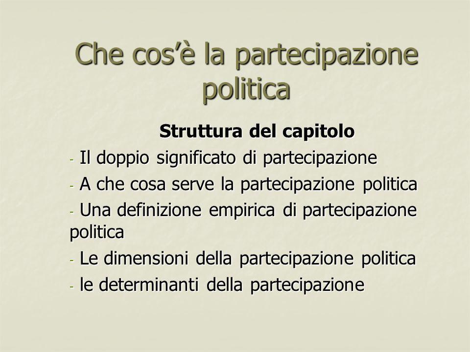 Che cosè la partecipazione politica Struttura del capitolo - Il doppio significato di partecipazione - A che cosa serve la partecipazione politica - U