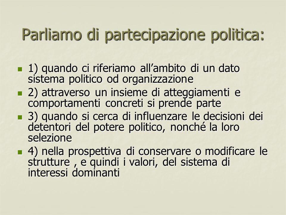 Parliamo di partecipazione politica: 1) quando ci riferiamo allambito di un dato sistema politico od organizzazione 1) quando ci riferiamo allambito d
