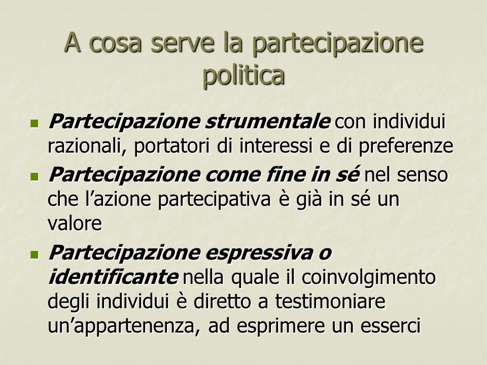 A cosa serve la partecipazione politica Partecipazione strumentale con individui razionali, portatori di interessi e di preferenze Partecipazione stru