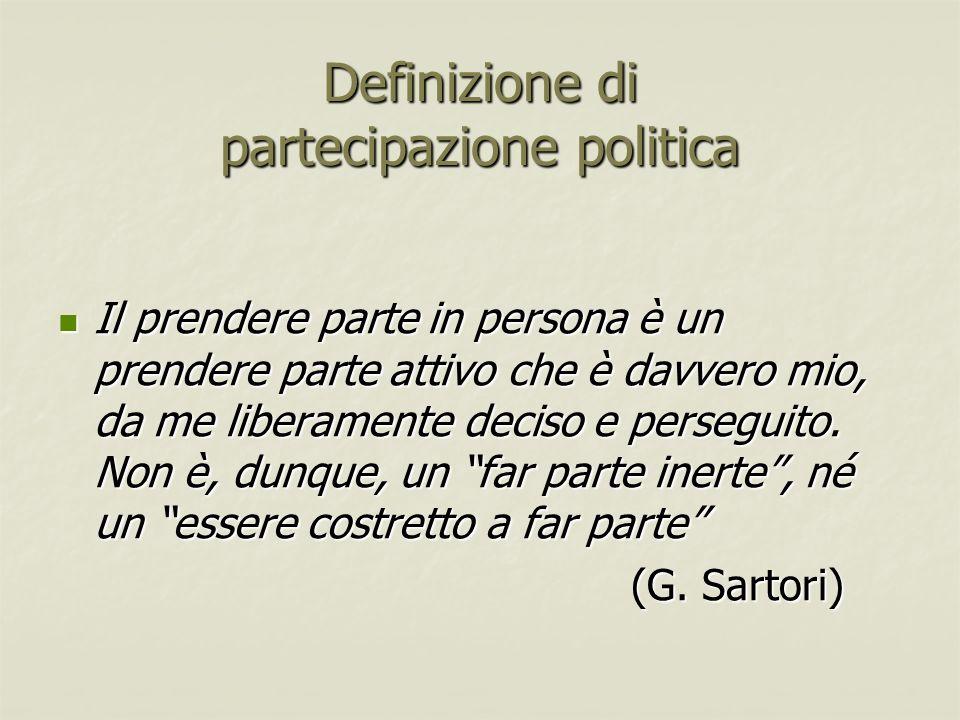Definizione di partecipazione politica Il prendere parte in persona è un prendere parte attivo che è davvero mio, da me liberamente deciso e perseguit