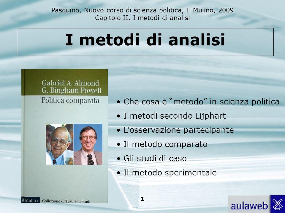 Pasquino, Nuovo corso di scienza politica, Il Mulino, 2009 Capitolo II. I metodi di analisi 1 I metodi di analisi Che cosa è metodo in scienza politic