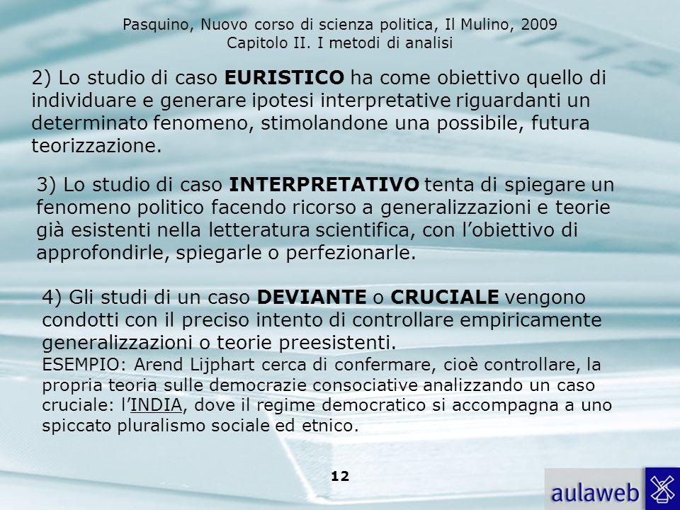Pasquino, Nuovo corso di scienza politica, Il Mulino, 2009 Capitolo II. I metodi di analisi 12 2) Lo studio di caso EURISTICO ha come obiettivo quello
