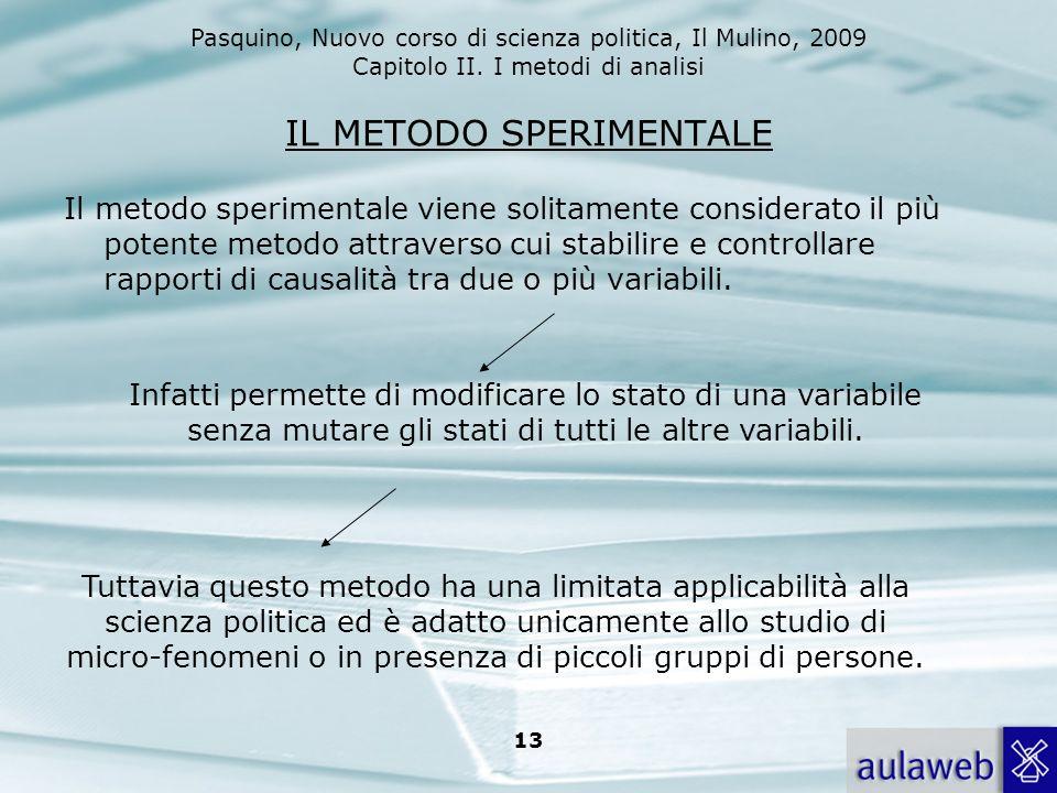 Pasquino, Nuovo corso di scienza politica, Il Mulino, 2009 Capitolo II. I metodi di analisi 13 IL METODO SPERIMENTALE Il metodo sperimentale viene sol