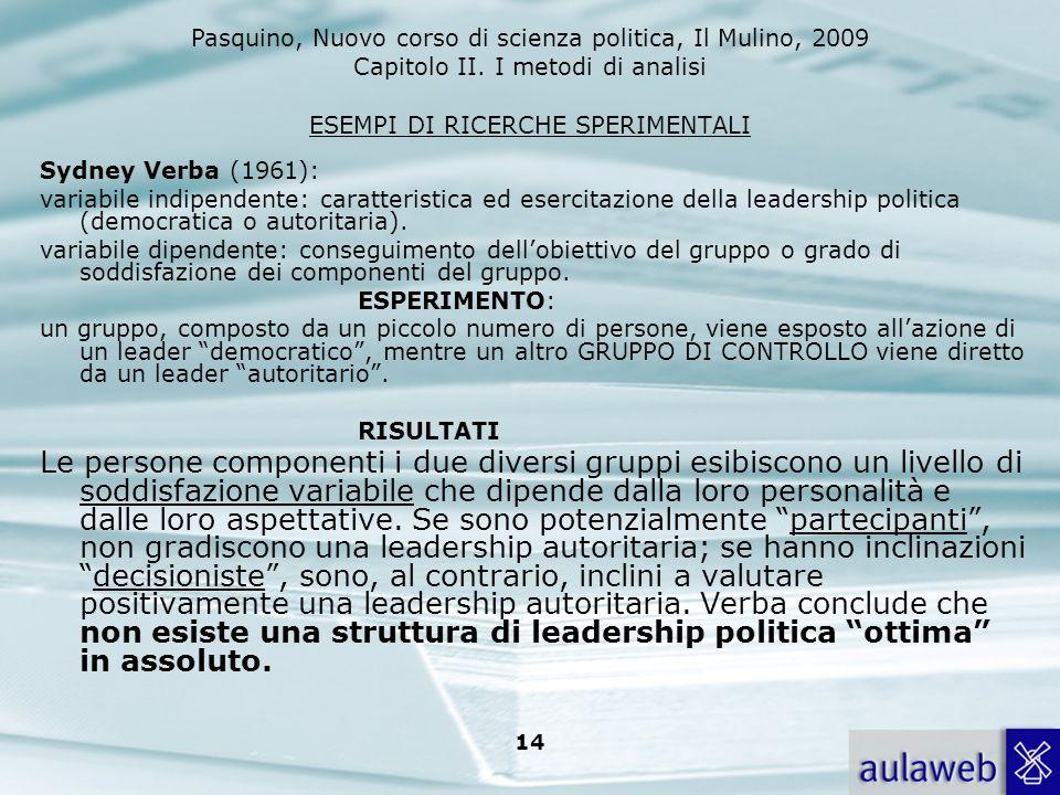 Pasquino, Nuovo corso di scienza politica, Il Mulino, 2009 Capitolo II. I metodi di analisi 14 ESEMPI DI RICERCHE SPERIMENTALI Sydney Verba (1961): va
