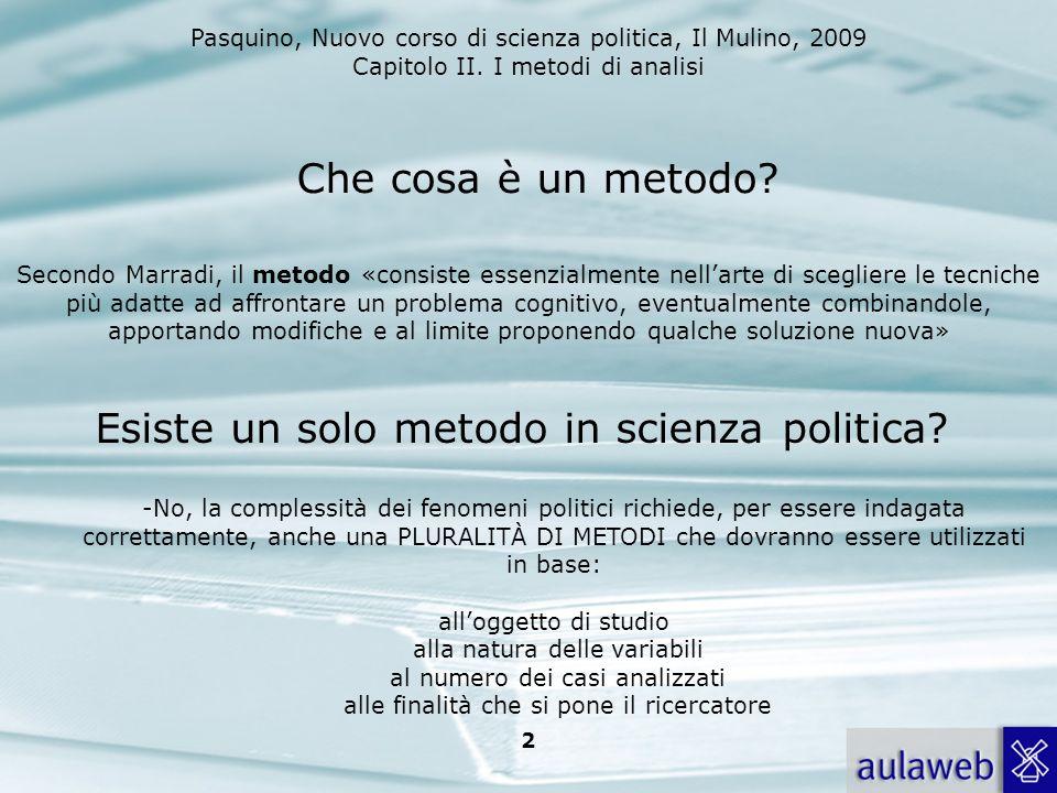 Pasquino, Nuovo corso di scienza politica, Il Mulino, 2009 Capitolo II. I metodi di analisi 2 Secondo Marradi, il metodo «consiste essenzialmente nell