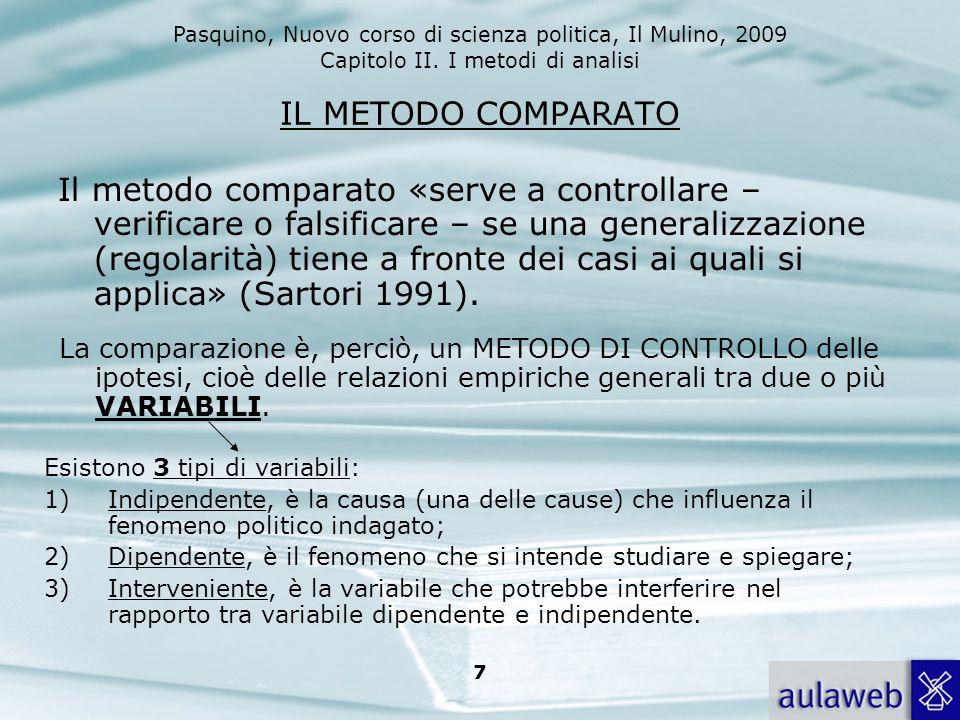 Pasquino, Nuovo corso di scienza politica, Il Mulino, 2009 Capitolo II. I metodi di analisi 7 IL METODO COMPARATO Il metodo comparato «serve a control