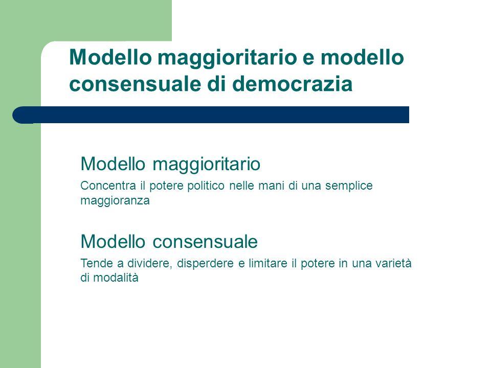 Modello maggioritario e modello consensuale di democrazia Modello maggioritario Concentra il potere politico nelle mani di una semplice maggioranza Mo