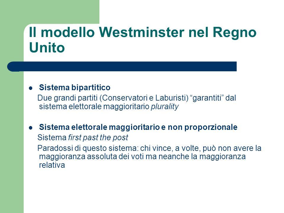 Sistema bipartitico Due grandi partiti (Conservatori e Laburisti) garantiti dal sistema elettorale maggioritario plurality Sistema elettorale maggiori