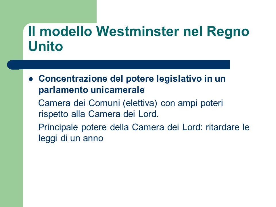 Concentrazione del potere legislativo in un parlamento unicamerale Camera dei Comuni (elettiva) con ampi poteri rispetto alla Camera dei Lord. Princip