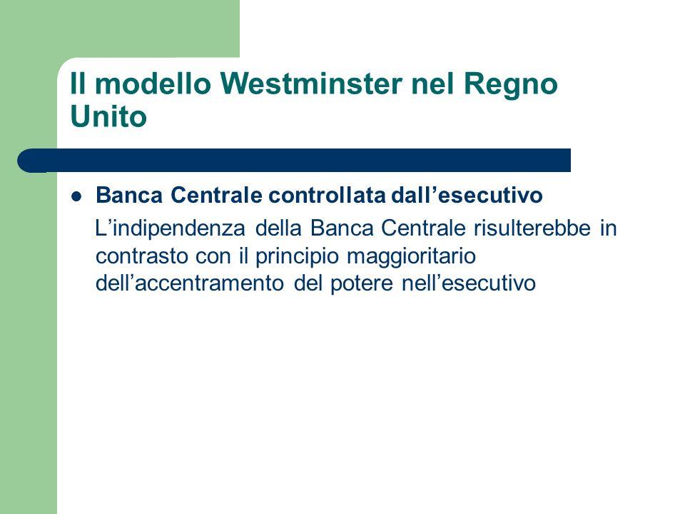 Banca Centrale controllata dallesecutivo Lindipendenza della Banca Centrale risulterebbe in contrasto con il principio maggioritario dellaccentramento