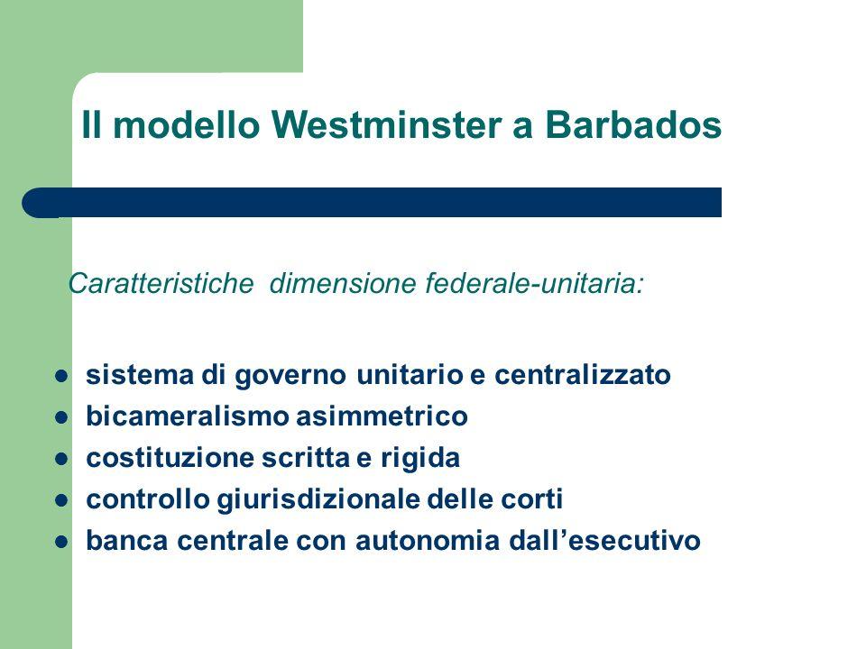 Il modello Westminster a Barbados sistema di governo unitario e centralizzato bicameralismo asimmetrico costituzione scritta e rigida controllo giuris