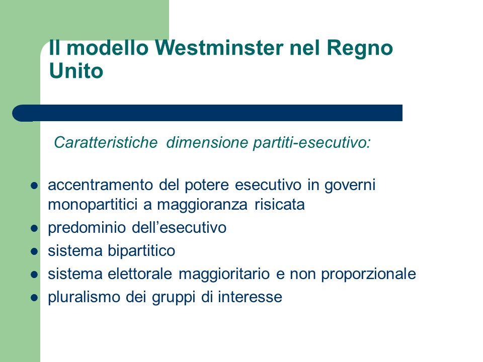 Il modello Westminster nel Regno Unito accentramento del potere esecutivo in governi monopartitici a maggioranza risicata predominio dellesecutivo sis