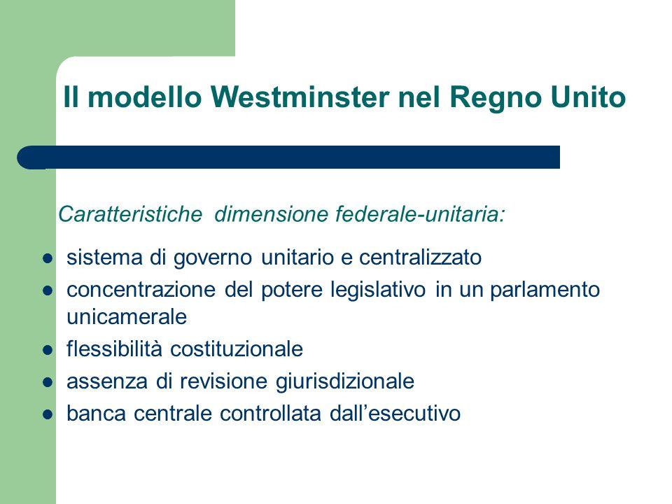 Il modello Westminster nel Regno Unito sistema di governo unitario e centralizzato concentrazione del potere legislativo in un parlamento unicamerale