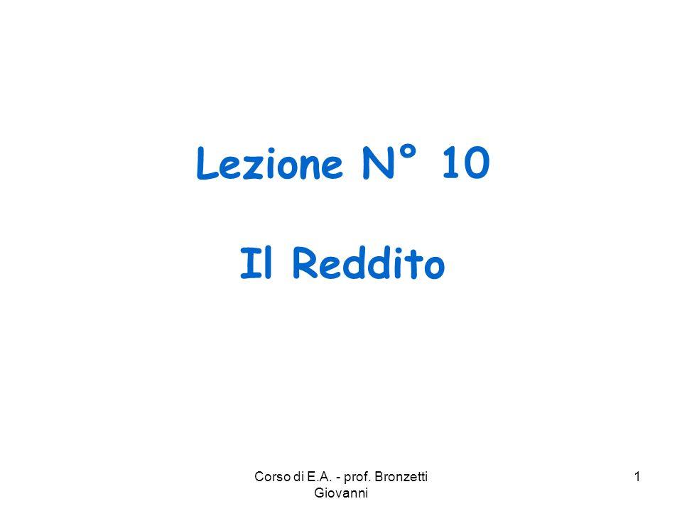 Corso di E.A. - prof. Bronzetti Giovanni 2 IL REDDITO