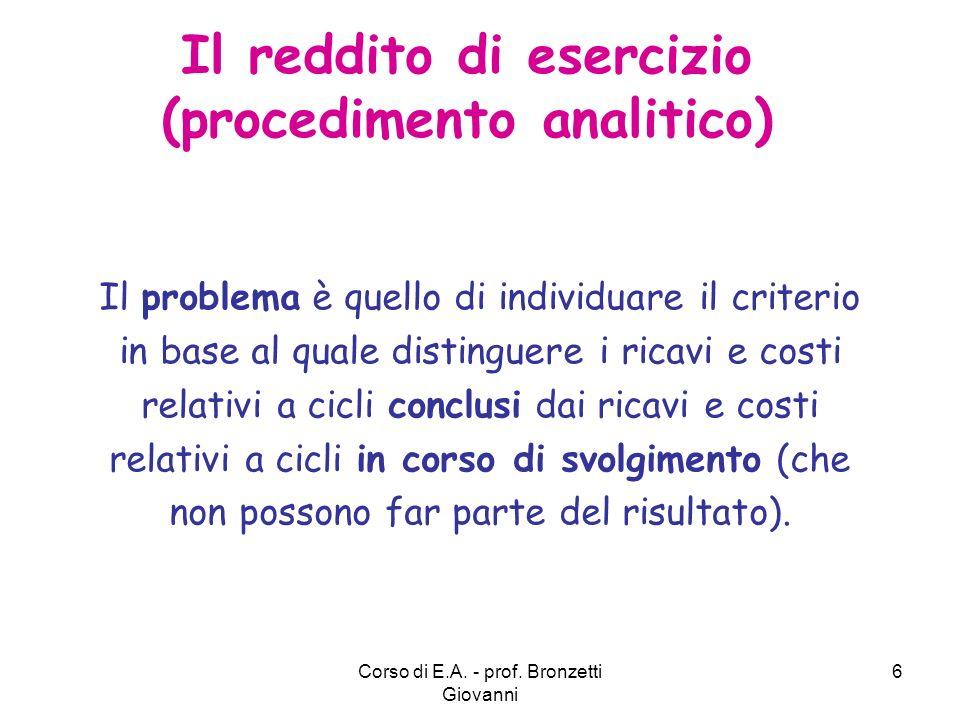 Corso di E.A.- prof.